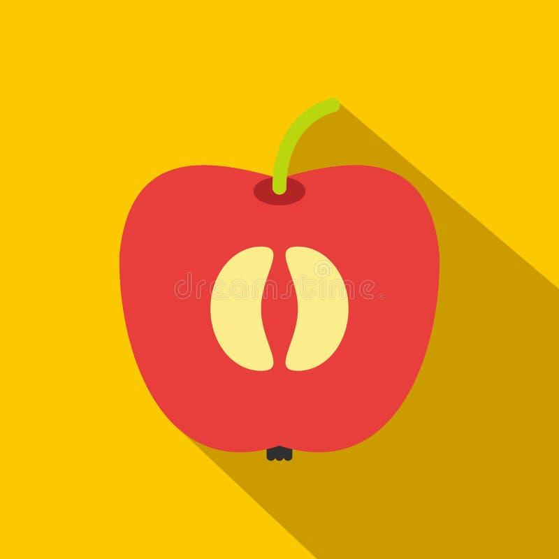 Metade do ícone liso da maçã vermelha fresca ilustração royalty free