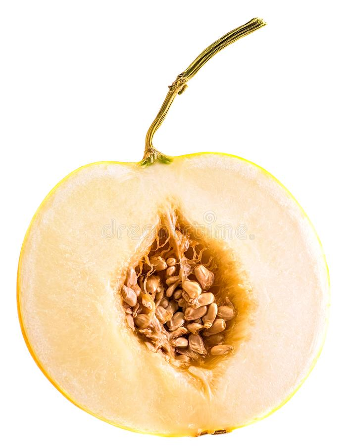 Metade do melão amarelo com as sementes isoladas no fundo branco fotos de stock royalty free