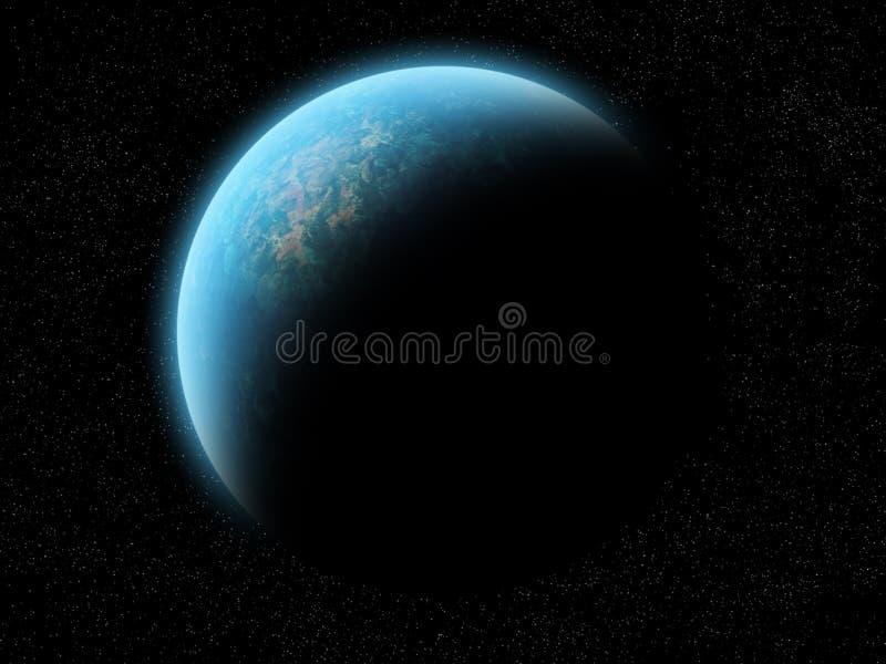 Metade do planeta iluminada ilustração royalty free