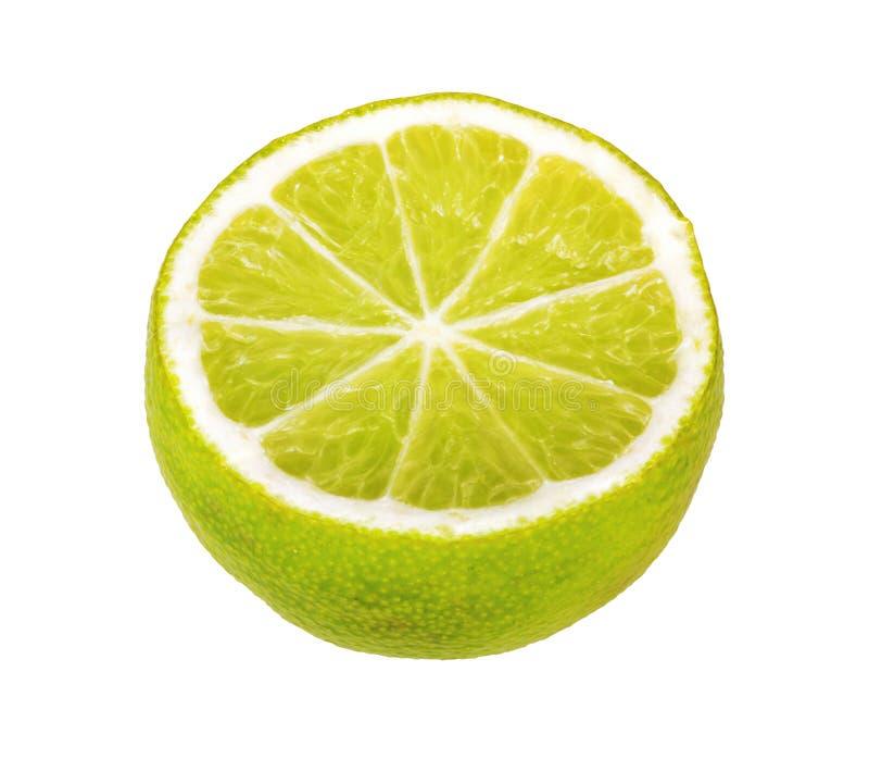 Metade dos citrinos do cal isolados no branco imagem de stock royalty free
