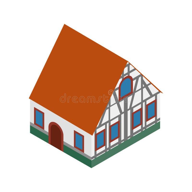 A metade suportou a casa no ícone 3d isométrico de Alemanha ilustração do vetor