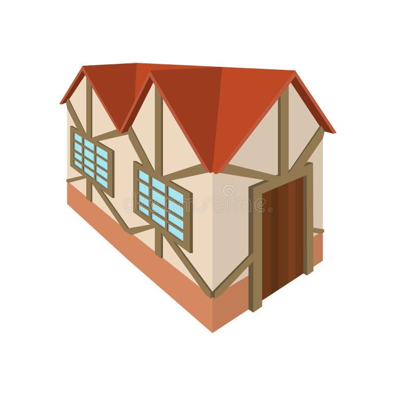 A metade suportou a casa no ícone de Alemanha, estilo dos desenhos animados ilustração stock