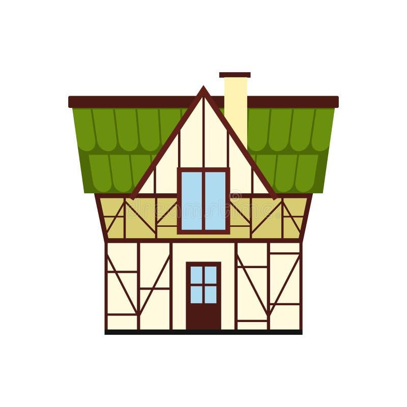 A metade suportou a casa no ícone de Alemanha, estilo liso ilustração do vetor