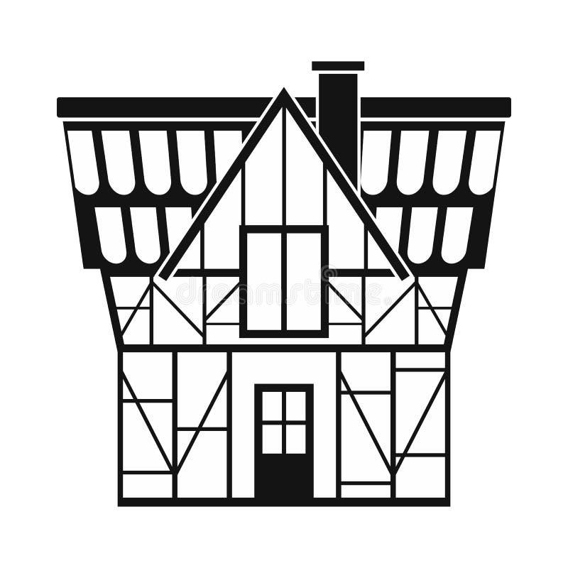 A metade suportou a casa no ícone de Alemanha, estilo simples ilustração do vetor