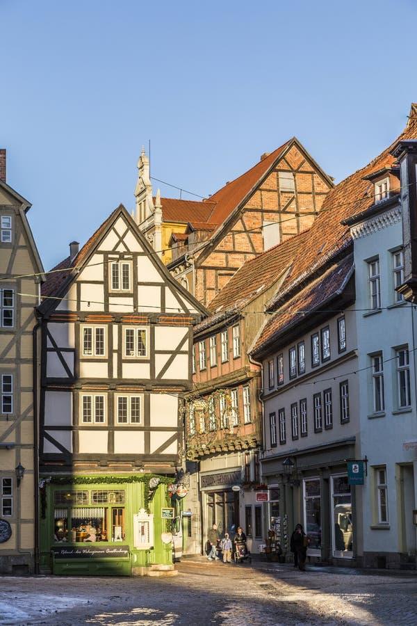 A metade velha cênico suportou casas em Quedlingburg fotografia de stock royalty free