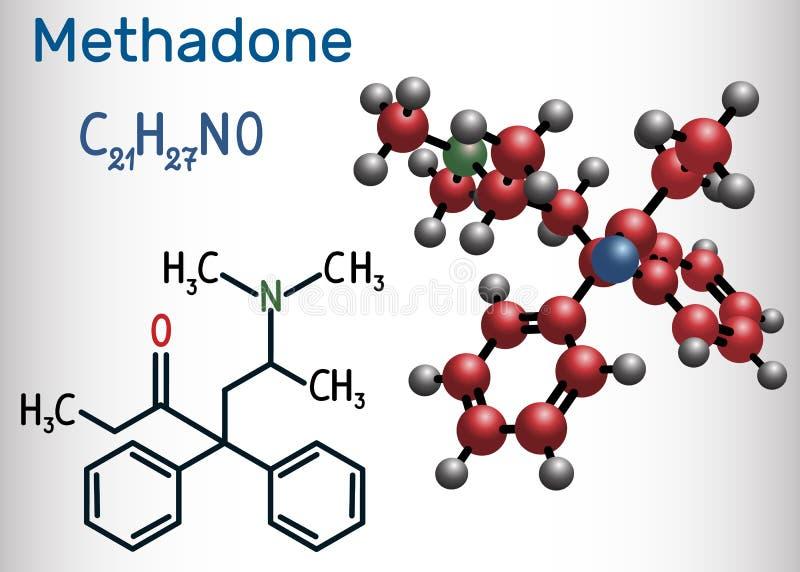 MetadonDolophine molekyl Det är en opioid, används som royaltyfri illustrationer
