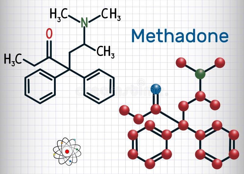 MetadonDolophine molekyl Strukturell kemisk formel vektor illustrationer