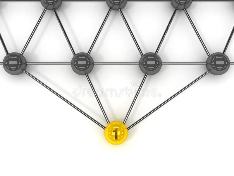 Metafoor van mededeling. Gouden leider vooraan. vector illustratie