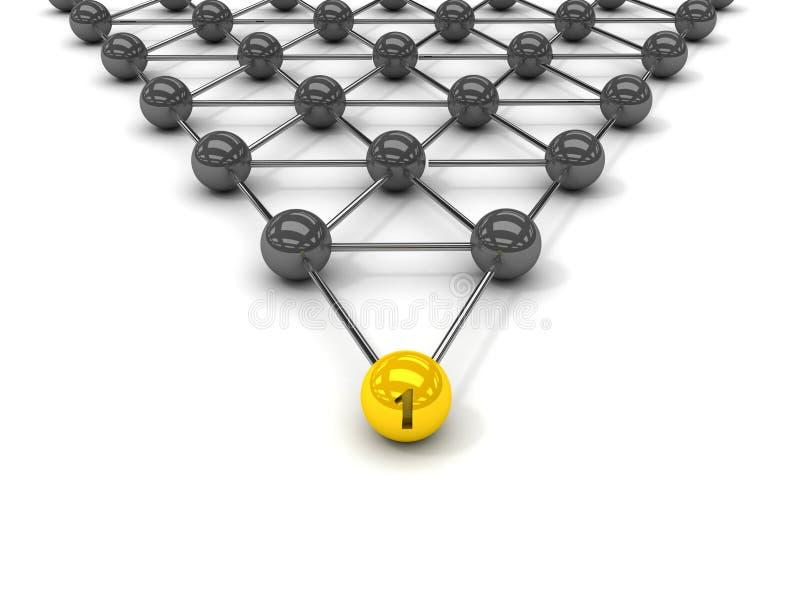 Metafoor van mededeling. Gouden leider vooraan. stock illustratie