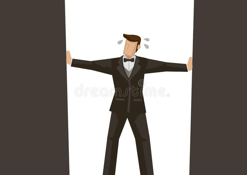 Metafoor van zakenman in de hoek van het kader stock illustratie