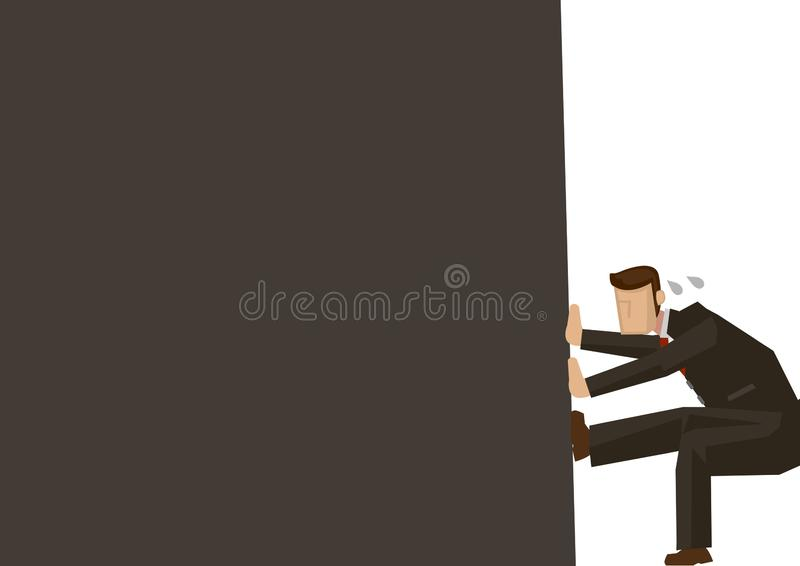 Metafoor van zakenman in de hoek van het kader royalty-vrije illustratie