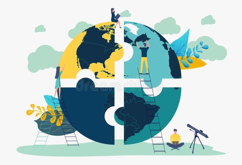 Metafora del gruppo di concetto di affari Elementi di collegamento di puzzle della gente sotto forma di pianeta royalty illustrazione gratis