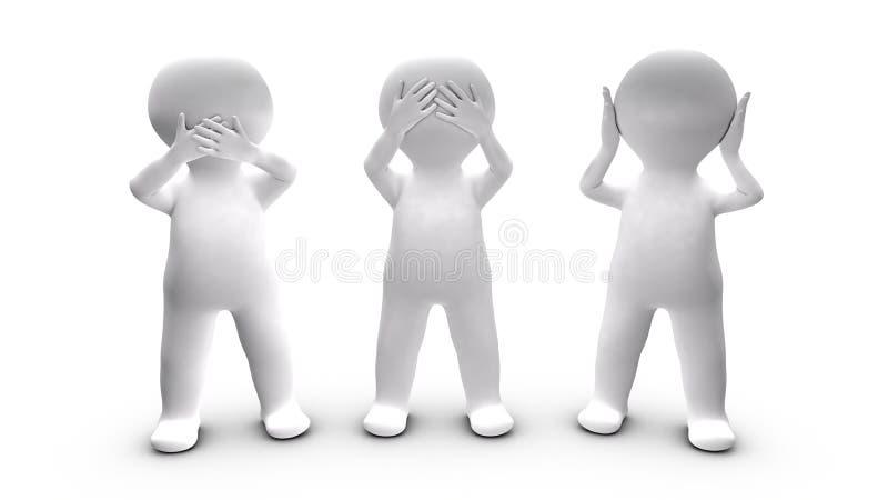 Metafora persone che scelgono di non parlare, orecchio e vedere. royalty illustrazione gratis