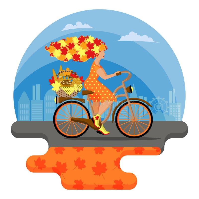 Metaforyczny bajka charakter Młoda jesieni kobieta z włosy od liści jedzie bicykl w mieście ilustracji