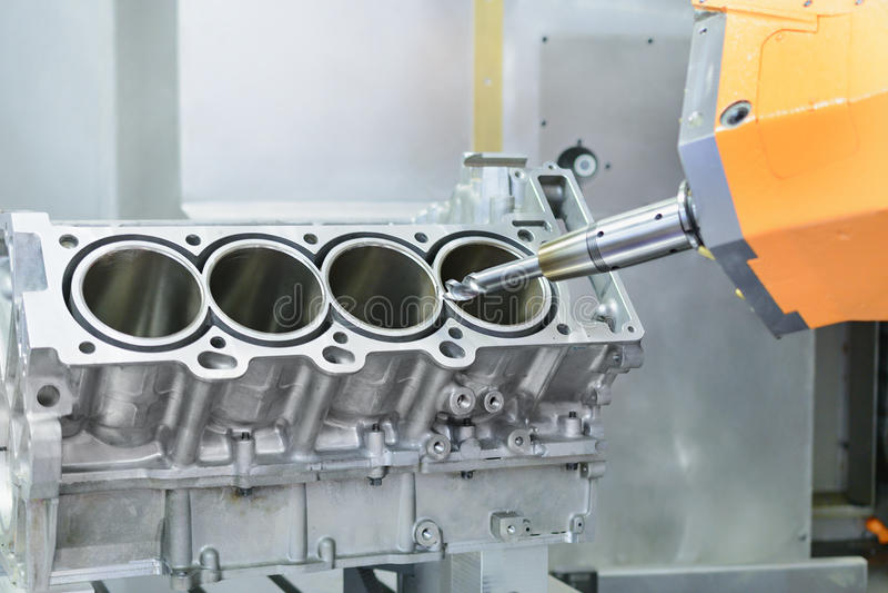 metalúrgico Proceso de alta precisión del torno del CNC imagen de archivo