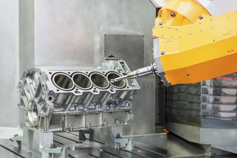 metalúrgico Proceso de alta precisión del torno del CNC imagen de archivo libre de regalías