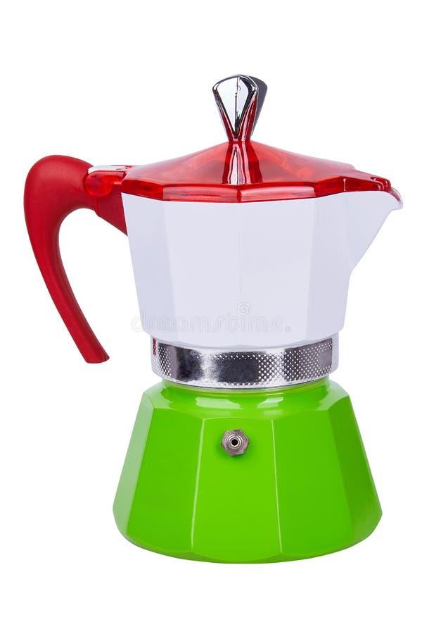 Metal бак кофе гейзера, кофеварка изолированная на белой предпосылке стоковая фотография