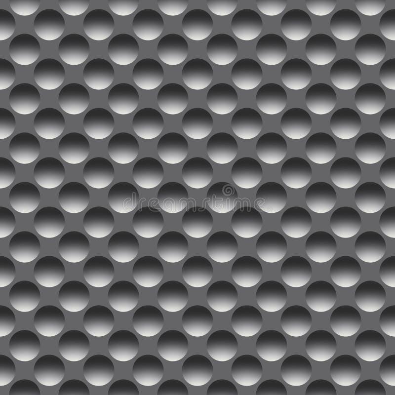 Metal безшовная картина с круглыми отверстиями, растр стоковые изображения