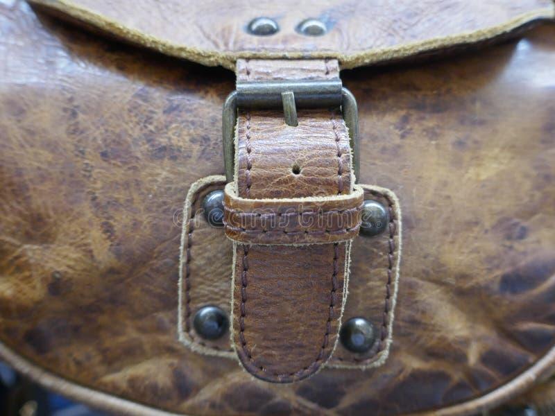 Metal закрытие кожаной сумки, конец-вверх стоковое фото