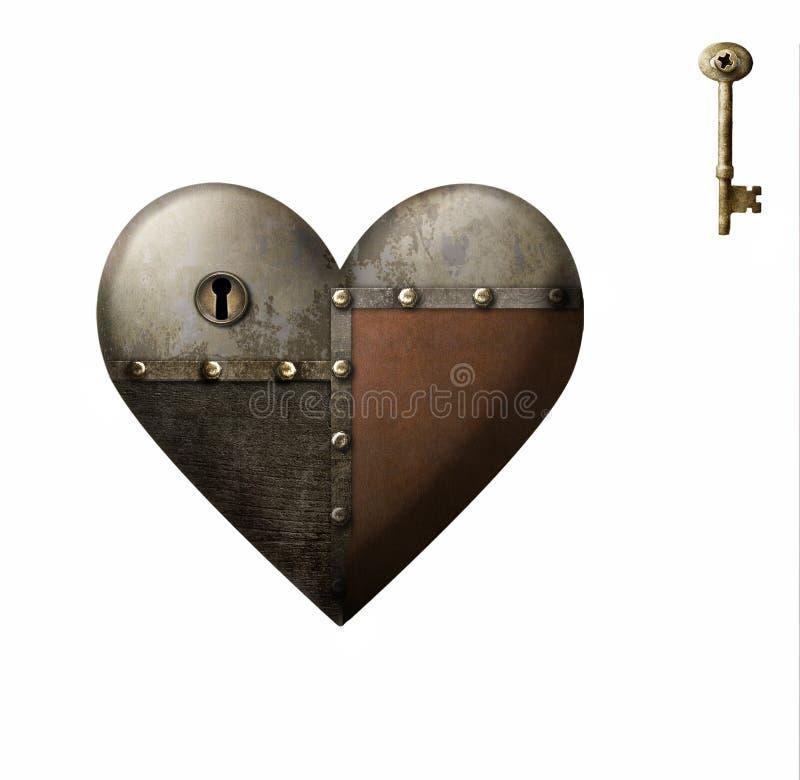 Metal залатанное сердце с ключом изолированное на белой предпосылке иллюстрация вектора