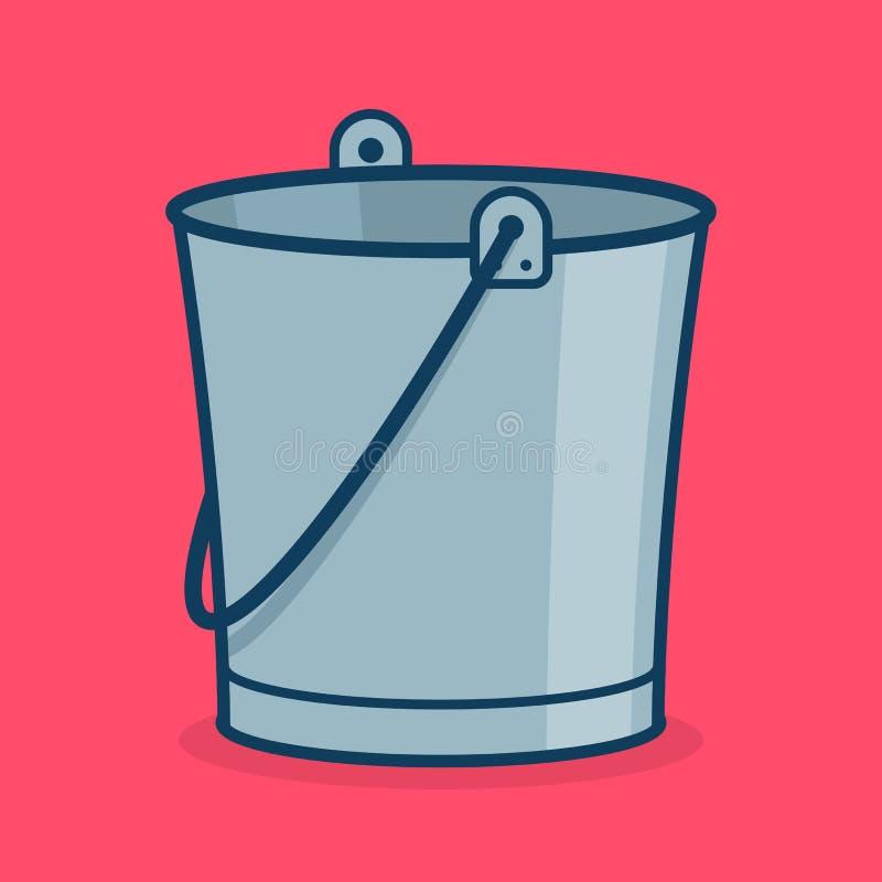 Metal значок, знак или символ ведра для app иллюстрация штока