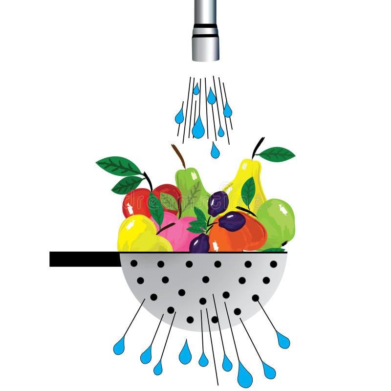 Metal иллюстрация дуршлага и плодоовощ дуршлага при плодоовощ помещенный под водой иллюстрация штока