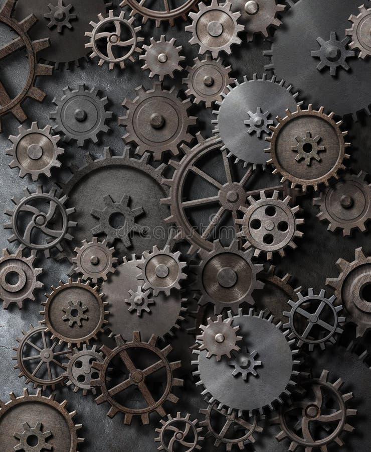 Metal предпосылка пара панковская с иллюстрацией cogwheels и шестерней 3d бесплатная иллюстрация