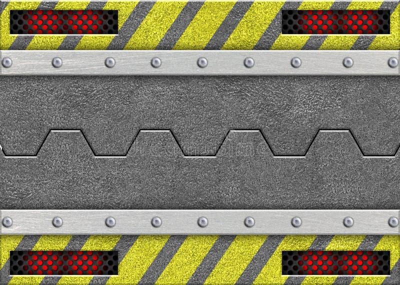 Metal раздвижная дверь с предупреждающей лентой, 3d, иллюстрация иллюстрация вектора