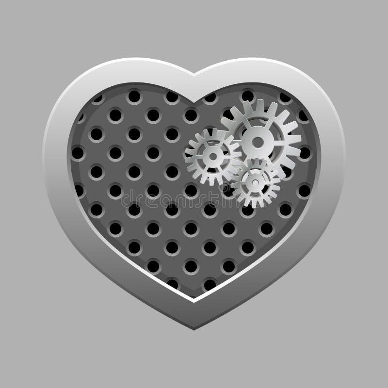 Metal сердце с серебряными шестернями на темной предпосылке иллюстрация вектора