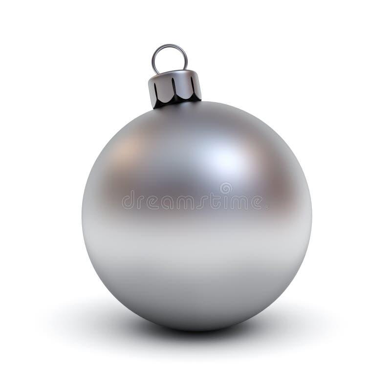 Metal шарик рождества или серебряный шарик рождества на белой предпосылке с тенью для украшения рождества иллюстрация штока