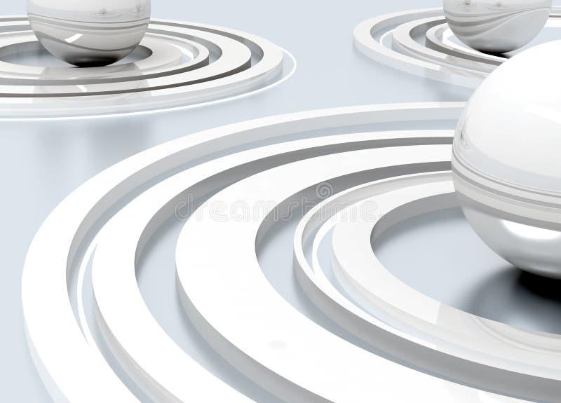 Metal abstrato esferas lustradas ilustração royalty free
