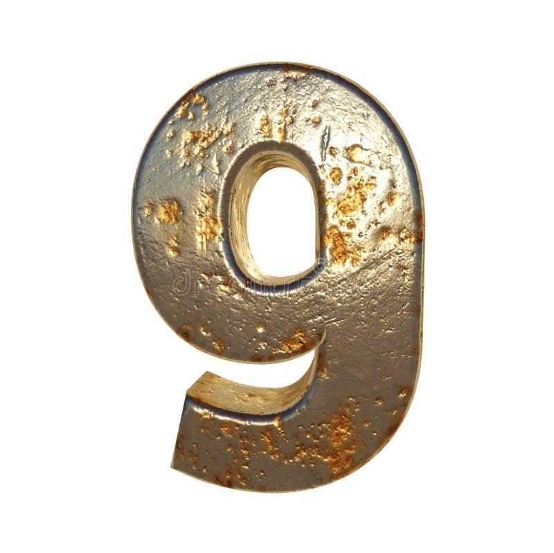 Metal aherrumbrado número 9 stock de ilustración