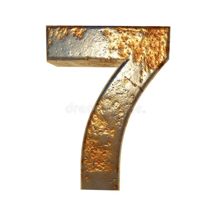 Metal aherrumbrado número 7 stock de ilustración