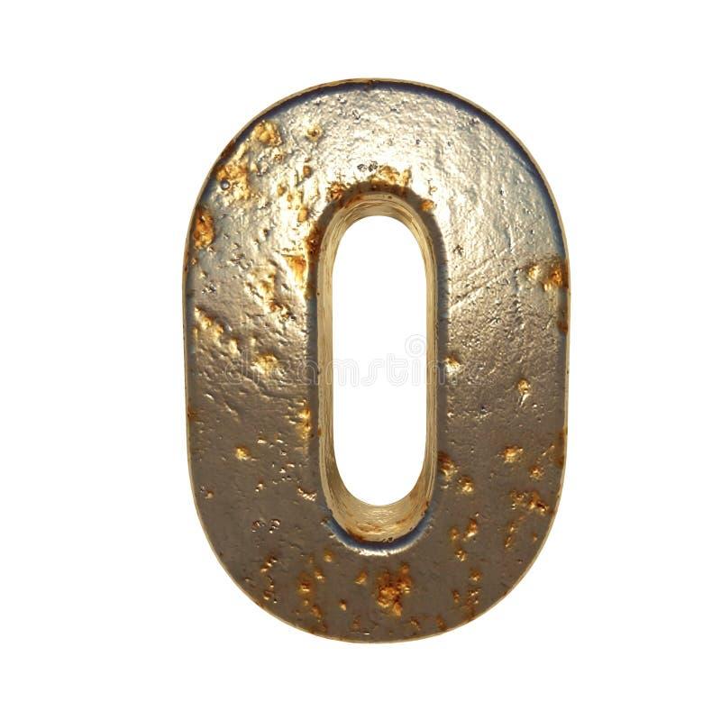 Metal aherrumbrado número 0 ilustración del vector