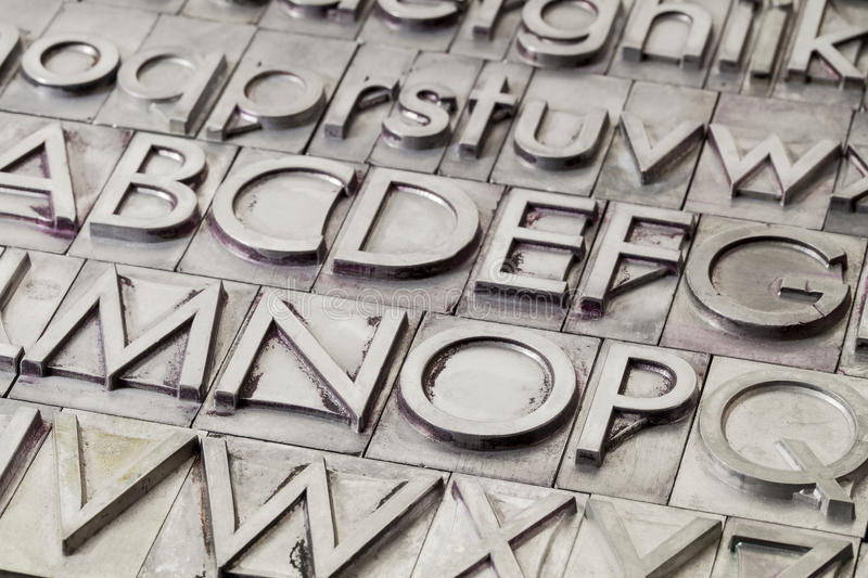 Metal alphabet abstract. Alphabet abstract - vintage metal letterpress printing blocks stock image