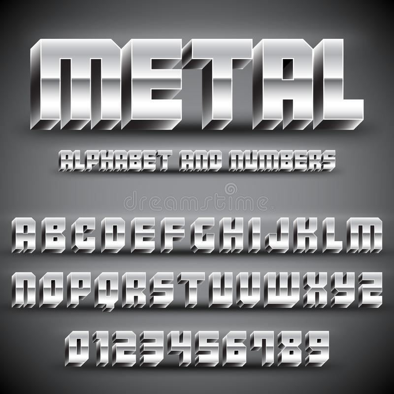 Metal Alphabet and Numbers. 3D alphabet and numbers with realistic chrome metal effect vector illustration