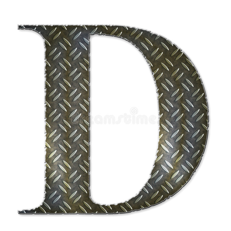 Metal alphabet symbol - D. Gripped dierty metal alphabet symbol - D stock images