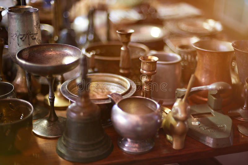 Metal antique bowls. In old nicaragua market royalty free stock photos