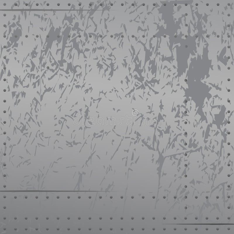 Metal apenado con los remaches, rasguños, tonos frescos suaves de la pendiente, ejemplo del vector del fondo ilustración del vector
