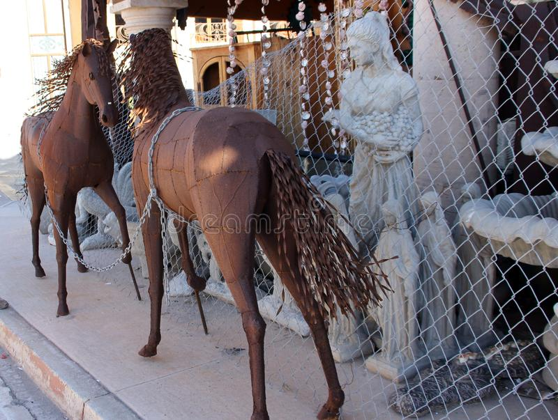 Metal Artwork on display street side in Puerto Penasco, Mexico stock photography