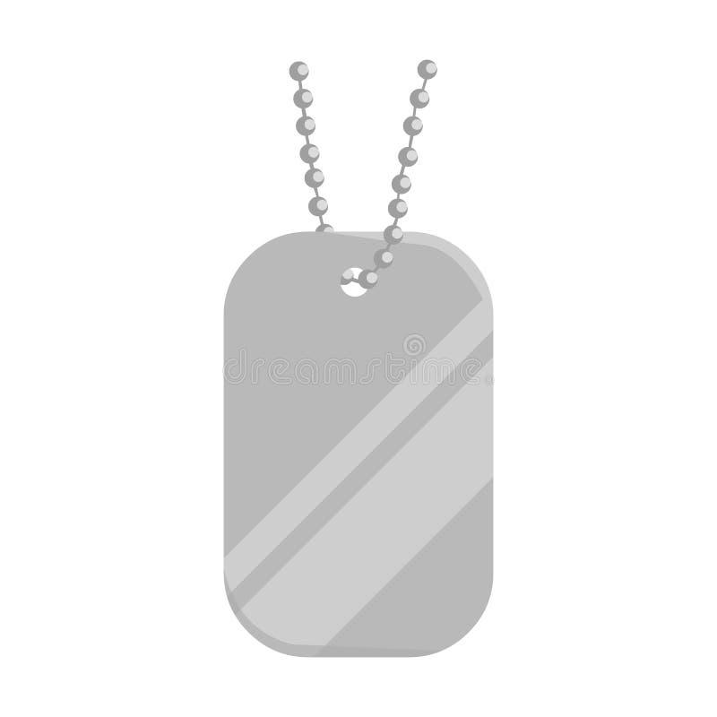 Metal as etiquetas que penduram em uns desenhos animados chain do ícone Único ícone da munição grande, braços da arma ajustados ilustração stock