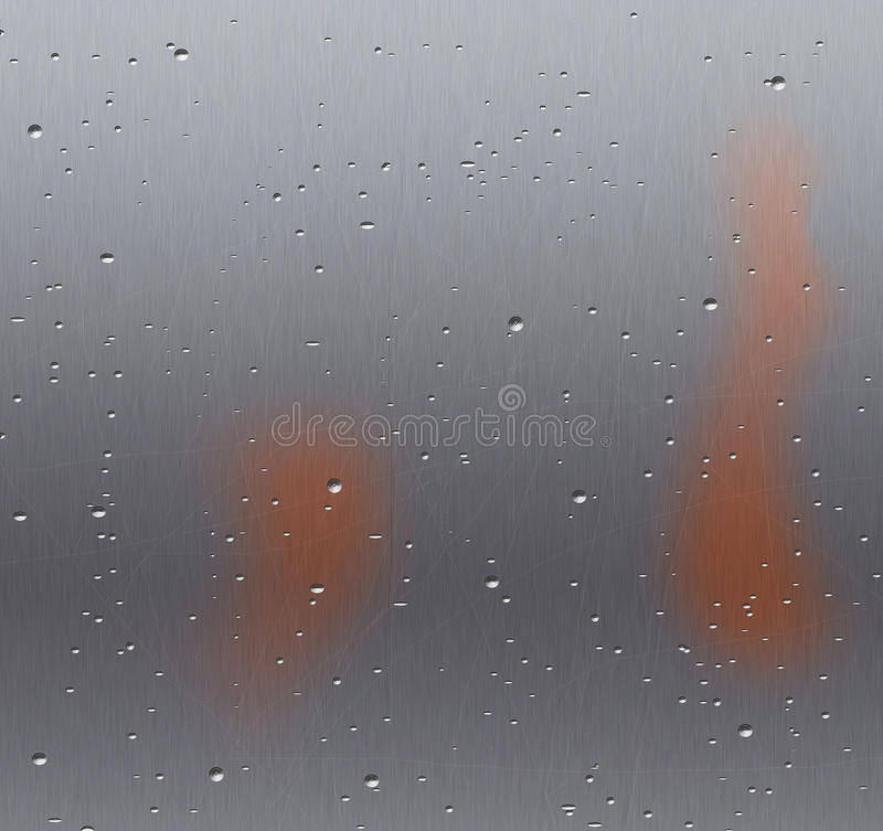 Metal background. Scratched and rusty with water drops stock illustration