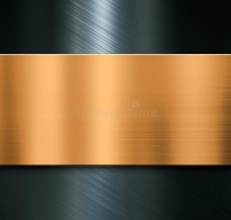 Metal background with brushed bronze plate 3d illustration stock photos