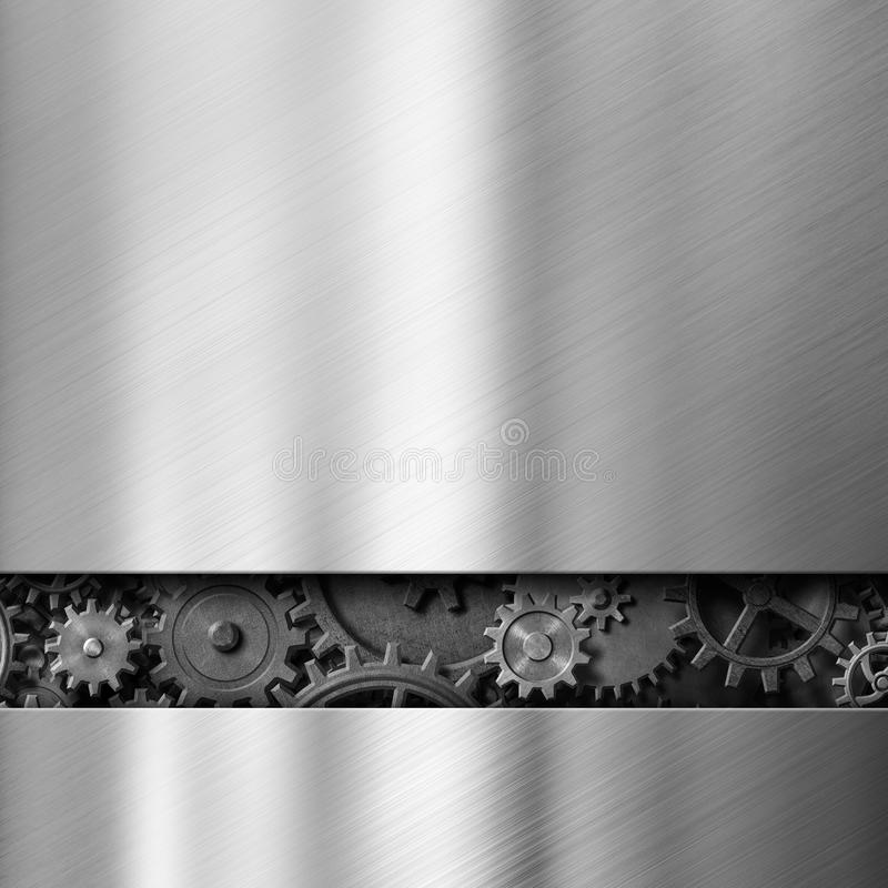 Metal background with cogs and gears 3d illustration vector illustration