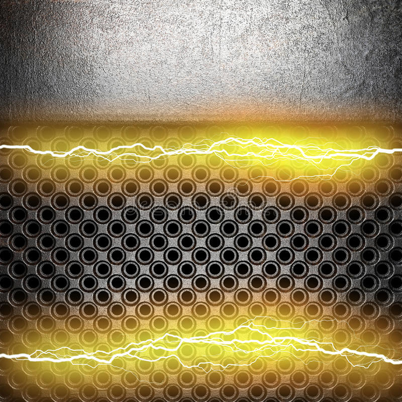 Metal background with electric lightning royalty free stock photography