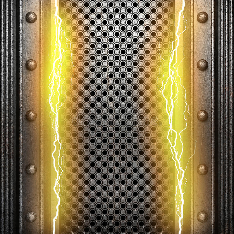 Metal background with electric lightning royalty free stock photos