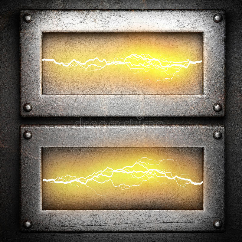 Metal background with electric lightning royalty free stock images