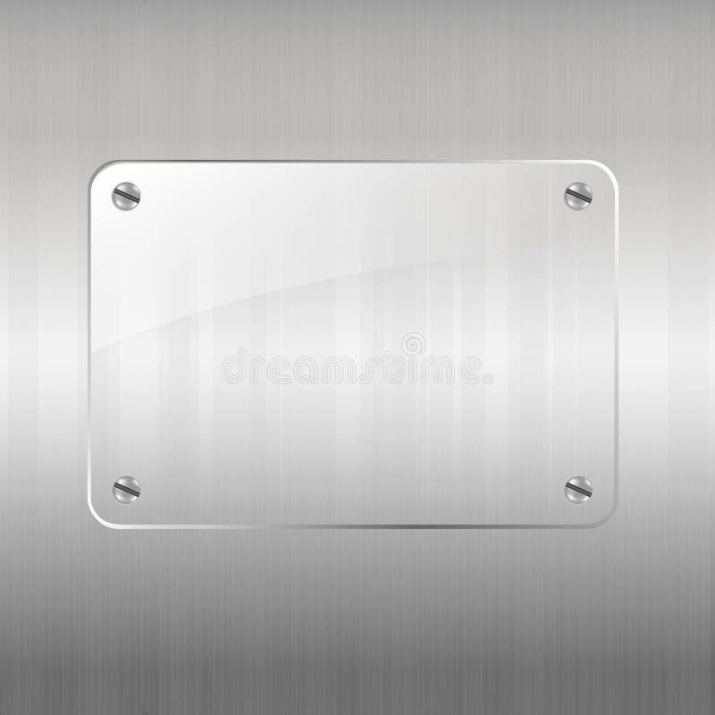 Download Metal Background And Glass Frame Stock Illustration - Illustration of placard, element: 33922198