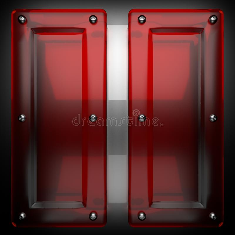 Metal background with red glass stock photos
