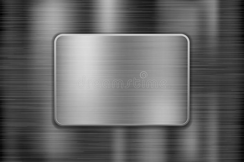 Metal background with square iron plate. Scratched shiny 3d texture. Vector illustration royalty free illustration